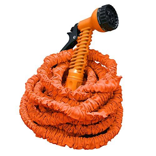 Profi Gartenschlauch Set AQUA PRO | flexibel - leicht - platzsparend | 2-fach Schlauch für hohen Druck | 7 Brause Funktionen | orange 22,5 m Länge