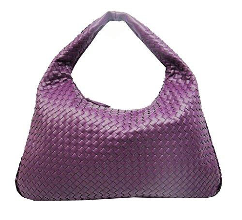 Bag Hand Handbags Fashion Bag Black Shoulder woven Purple Woven Color Leather Rx5qEtwIE