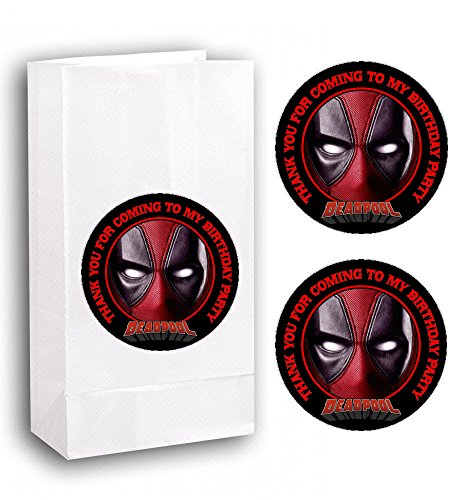 Crafting Mania LLC. 12 Deadpool Birthday Party Favor Bags Stickers #1 -