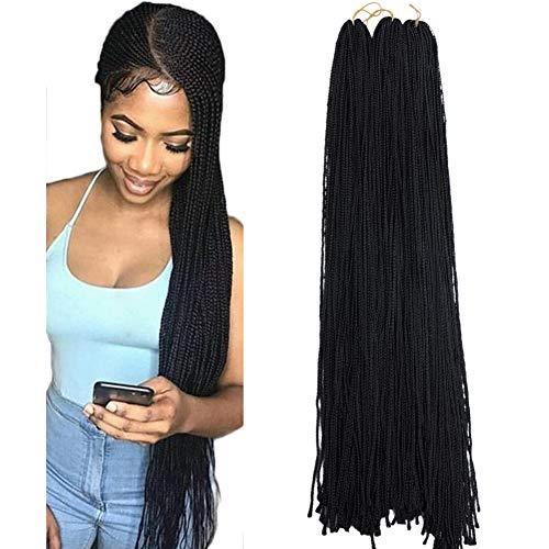 Mayloss Long Micro 3X Pre-Looped Synthetic Zizi Braids 10 Packs/Lot 28 Inch 50g/Pack 1B Color Thin Small Box Braid Crochet Twisted Hair Synthetic Kanekalon Braiding Hair Extension ()