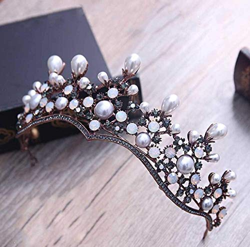 Yean Gold Wedding Crown Bridal Tiaras with Earrings Pink Purple Headband for Women and Girls (Black) ()