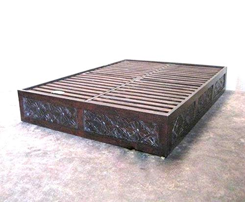 Worldcraft Platform Bed Frame. Diamond Carving on 3 Sides. Handmade from Solid Neem Wood The Mahogany Family, which is a Natural Pesticide. California King 72x84 Inner Size.
