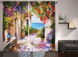 Ambesonne Lakehouse Decor Collection, Retro Greek Houses in an Ancient Village near Sea Colorful Plants and Flower Gate Oil Painting, Living Room Bedroom Curtain 2 Panels Set, 108 X 84 Inches, Paprika