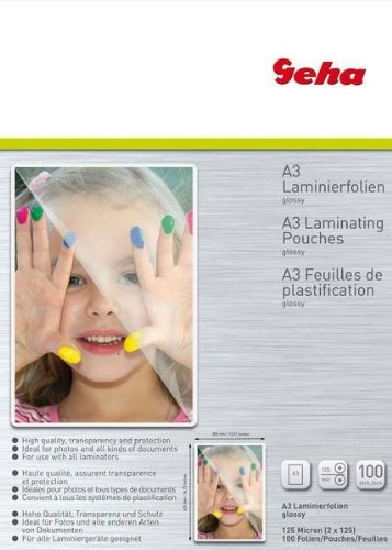 Geha Laminating Film 125 Micron A3 Pack of 100 (Laminator 125 Pouches)