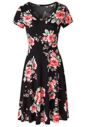Zattcas Womens Summer Casual Midi Dress Short Sleeve Floral A Line Flare Dress (X-Large, Black/ Red)