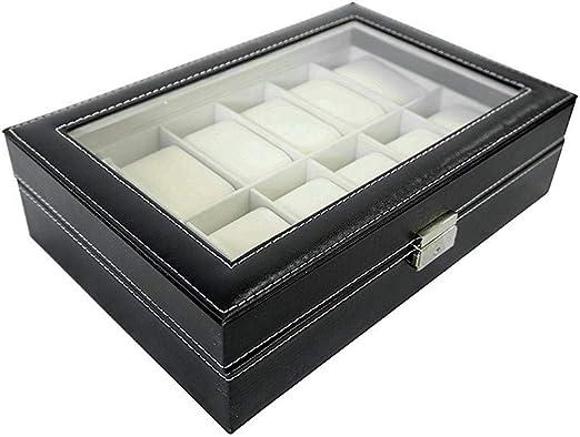 12 Compartimentos, Estuche para Relojes, Caja para Reloj,Caja de Almacenamiento de Relojes, Caja de presentación: Amazon.es: Relojes