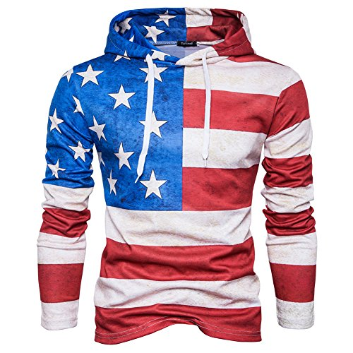 SparrK Mens Flag 3D Printed Hooded Sweatshirt Casual Pullover Hoodie White XXL