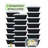 #10: NutriBox [20 value pack] single one compartment 12oz mini Meal Prep Food Storage Containers - BPA Free Reusable Lunch bento Box with Lids - Spill proof Proof, Microwave, Dishwasher and Freezer Safe