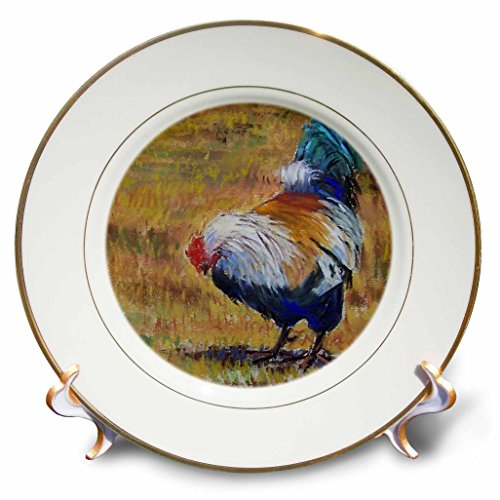 3dRose cp_61480_1 Beautiful TURQUOISE, White, Blue and black Feathered Barnyard Rooster-Porcelain Plate, 8