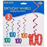 "Beistle 57551-100 5-Pack ""100"" Whirls, 3-Feet"