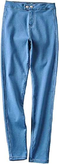 VITryst Womens Pork Chop Pocket Butt Lift Bodycon Denim Empire Waist Trousers