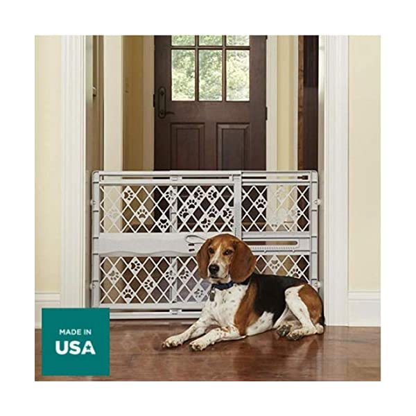 "North States Mypet Paws 40"" Portable Pet Gate: Expands & Locks In Place with No Tools. Pressure Mount. Fits 26""- 40"" Wide (23"" Tall, Light Gray) 6"