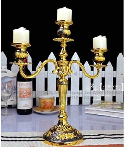 クリスマスキャンドルホルダーH33Cm豪華な3/5Armブラックゴールドメタルゴールドキャンドルホルダークリスマスキャンドルホルダーの家の装飾、5アーム