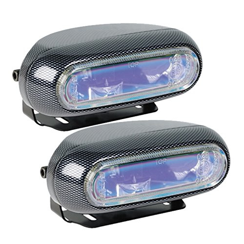 Hella H71010301 Optilux Model 1250 12V 55W H3 Fog Light Kit with Carbon Fiber Look and Blue - Light Fog Oval Kit
