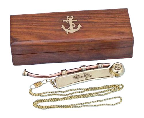 "Hampton Nautical  Solid Brass/Copper Boatswain (Bosun) Whistle with Rosewood Box, 6"", Brass"