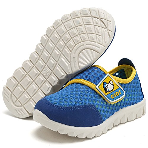 CIOR Kid's Mesh Lightweight Sneakers Baby Breathable Slip-on For Boy and Girl's Running Beach Shoes(Toddler/Little Kid),Blue03,31 5