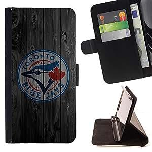 BullDog Case - FOR/Samsung Galaxy S6 EDGE / - / Toronto Blue Jay Baseball /- Monedero de cuero de la PU Llevar cubierta de la caja con el ID Credit Card Slots Flip funda de cuer
