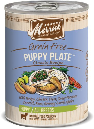 Merrick Classic Grain Free Puppy Plate Wet Puppy Food, 13.2 oz, Case of 12 Cans (13.2 Ounce Puppy Food)