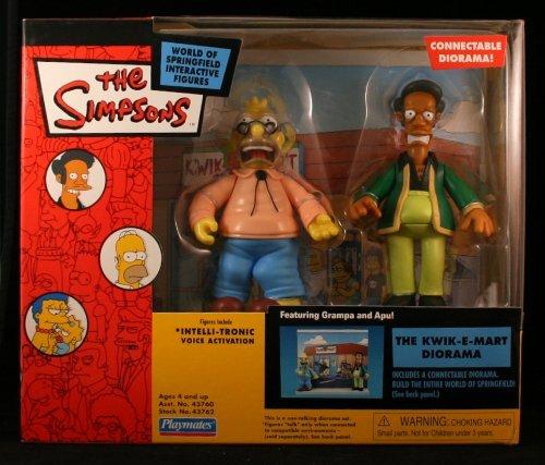 Simpsons Kwik-E-Mart Interactive Diorama w/ Apu and Grampa Simpson]()