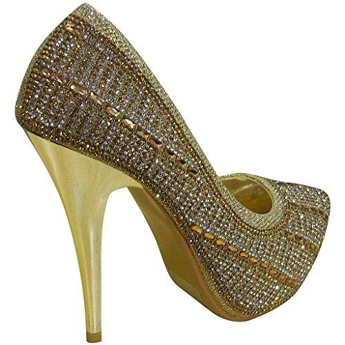 Bella Marie Dames Cammy-18 Platform Glittery Strass Stiletto Pumps Goud