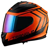 Triangle motorcycle full face dual Visor helmets (Large, Matte Black/Orange)