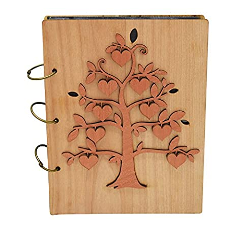 Giftgarden Heart Fruit of Family Tree 5x7 Photo Album Wood Photo Book 120 Pockets - Wood Photo Album Book