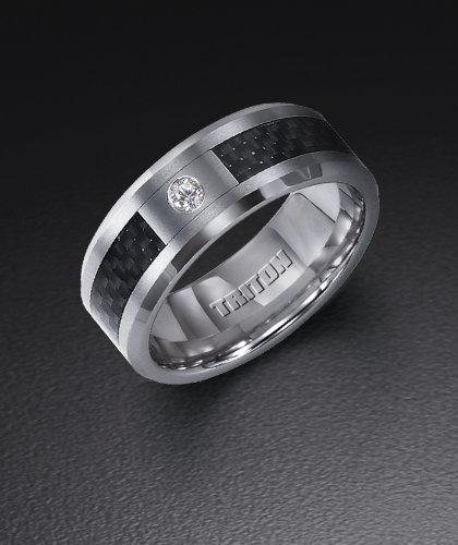 tungsten carbide wedding ring with carbon fiber inlay and 05 ct diamond 21 2359c amazoncom - Tungsten Carbide Wedding Rings