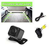 Universal Mount Front Rear Camera - Marine Grade Waterproof Built-in Distance Scale Lines Backup Parking/Reverse Assist Cam w/ Night Vision LED Lights 420 TVL Resolution & RCA Output - Pyle PLCM37FRV