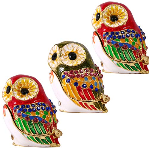 YU FENG 3pcs/Set Hand-Painted Owl Figurine Jewelry Trinket Box Ring Holder