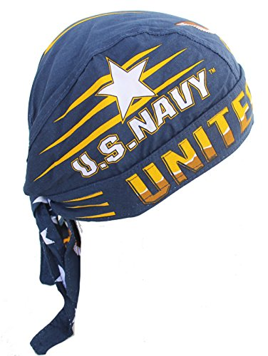 U.S. Navy Skull Cap Blue Bandana with Sweatband Adjustable Self Tie