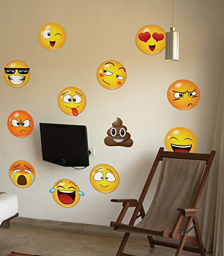 12 Large Emoji Faces Wall Graphic Decal Sticker #6052-6x6 (6 Inches In Size). Reusable Smiley Emojis Similar To Iphone/Android Keyboard Icons. by Stickerbrand