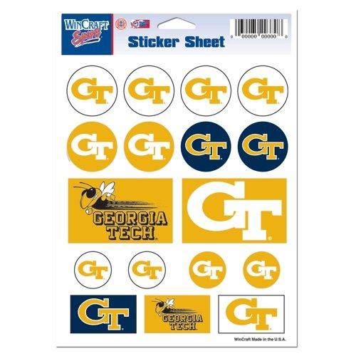 Wincraft NCAA Georgia Tech Vinyl Sticker Sheet, 5'' x 7''