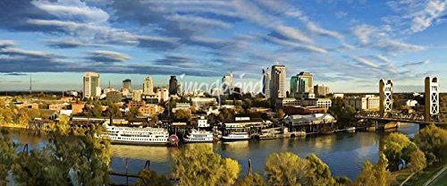 Imagekind Wall Art Print Entitled City Skyline Sacramento California by Elaine Plesser   32 x 13 -  6135909_4_0