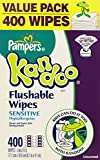Pampers Kandoo Flushable Toilet Wipes, 2 packs, Sensitive Hypoallergenic 400 Wipes Refill Unscented