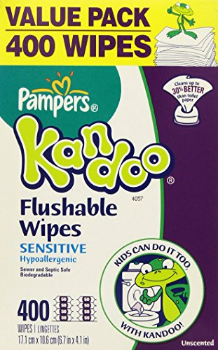 Pampers Kandoo Flushable Toilet Wipes, 2 packs, Sensitive Hypoallergenic 400 Wipes Refill Unscented by Pampers