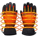 Men Women Electric Heated Gloves,Touchscreen Heating Gloves with 3200mA Li-Po Battery,Heat Insulated Thermal Gloves for Indoor Outdoor Climbing Hiking Skiing,Temperature Adjustable,Hand Warmer,Black