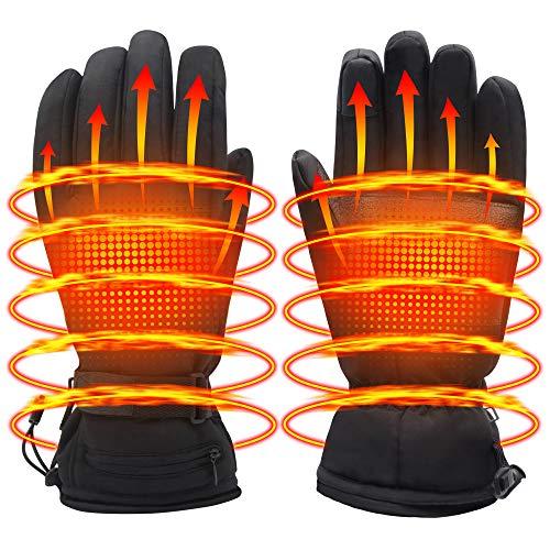 Men Women Electric Heated GlovesTouchscreen Heating Gloves with 3200mAh Li-Po Battery,Heat Insulated Thermal Gloves for Climbing Hiking Skiing,3 Heat,Hand Warmer,Black (L, 3.7V/3200mAh Li-po battery)