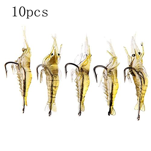 Fishing - Zanlure 10pcs 4cm Shrimp Fishing Lure Fishing Soft Prawn Lure Bait - Entice Peewee Tempt Runt Enticement Half-Pint - Swimming Singapore Gear