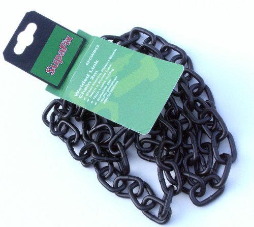 5x 21mm Black Electro Plated Straight Welded Link Chain (Chain Link Straight)