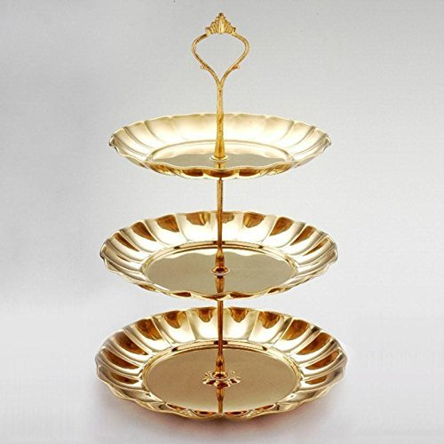 Cupcake Stand Stainless steel Round Wedding Birthday Cake Display Tower 2/3 Tier Color:Gold Design:3 layer
