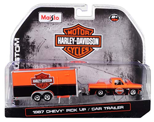 Maisto 1987 Chevrolet Pickup Truck with Enclosed Car Trailer Orange & Black Harley Davidson 1/64 Diecast Model Car 15363-HD1
