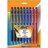 BIC BU3 Grip Retractable Ball Pen, Medium Point (1.0 mm), Assorted Colors, 18-Count