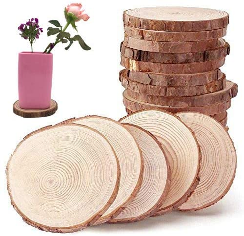 Unfinished Natural Wood Slices Wooden Circles With Tree Bark Log Discs For Diy Craft Rustic Wedding Ornaments Amazon Com