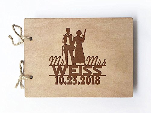 Wedding Guest Book - Wood Notebook - Star Wars - Hans Solo