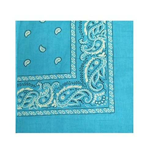 Bandanas by the Dozen (12 units per pack, 100% cotton) (Dozen-Turquoise Paisley)