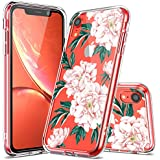 iPhone XR Case, LUHOURI iPhone XR Clear Case, Girls Women Floral Heavy Duty Protective Hard PC Back Case with Shockproof Slim TPU Bumper Cover Phone Case for iPhone XR, Pink Flower