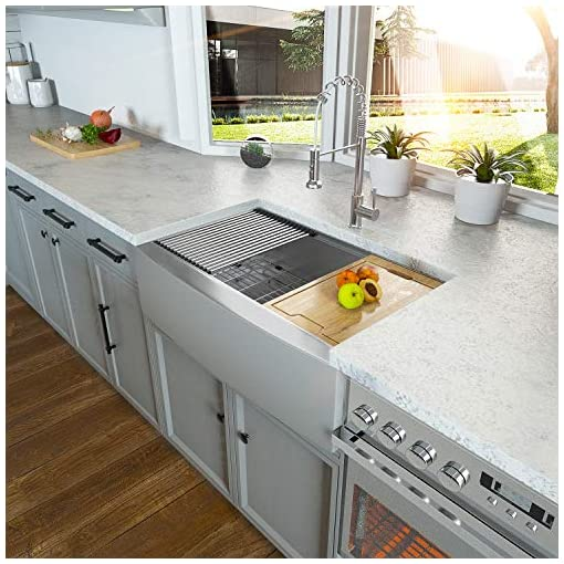 Farmhouse Kitchen 36 Farmhouse Sink – Kichae 36 Inch Farmhouse Kitchen Sink Undermount Ledge Workstation Apron Front Single Bowl 18 Gauge… farmhouse kitchen sinks