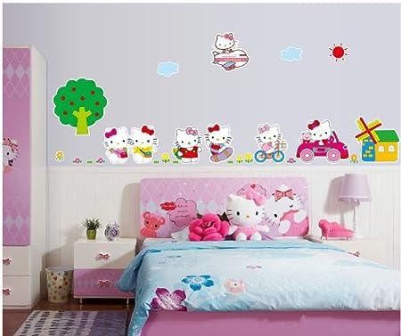 Topro Nursery Cartoon Hello Kitty Cats Travel Life Homes Wall Art