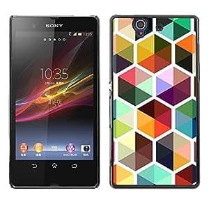 Be Good Phone Accessory // Dura Cáscara cubierta Protectora Caso Carcasa Funda de Protección para Sony Xperia Z L36H C6602 C6603 C6606 C6616 // Bee Colorful Cube Repetitive