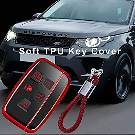 Silicone Shell Cover for Range Rover Key Jaguar Soft TPU Case for Chrome Remote Control Land Rover Discovery 4 Evoque Jaguar XE XF XJ F-Pace Keychain Protection Silver